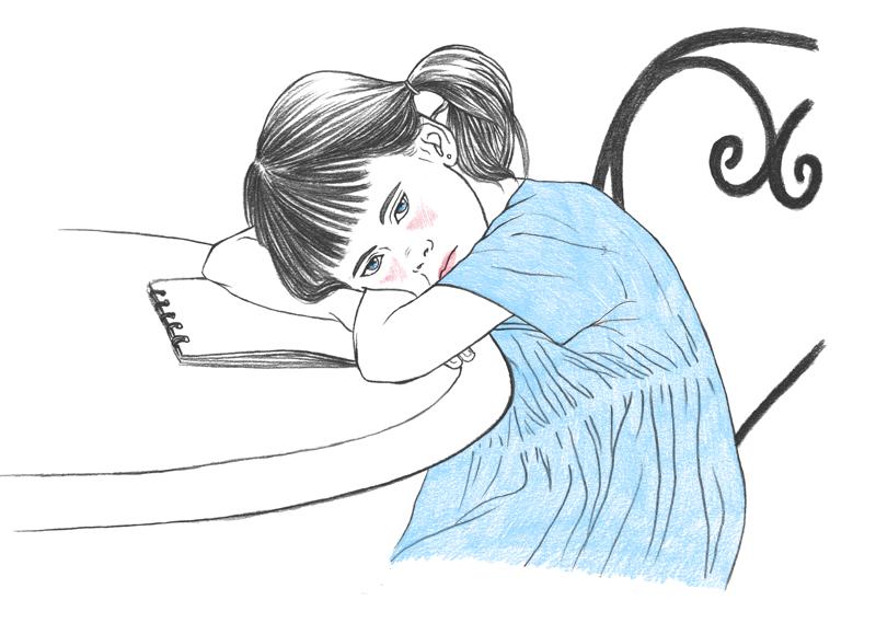 Illustration représentant un enfant, une petite fille, en difficulté d'apprentissage et boudant sur sa table de travail.