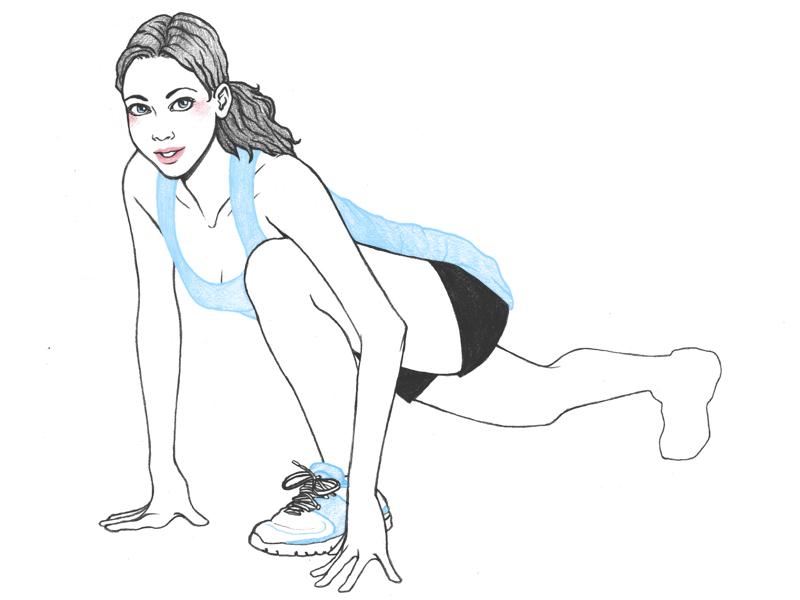 Illustration représentant une sportive prête à courir et symbolisant la performance sportive.